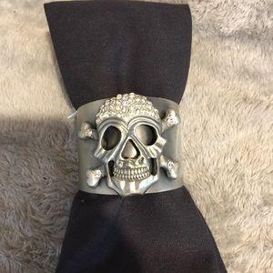 Rhinestone Skull Cuff Bracelet